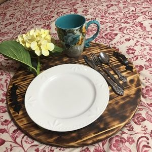 ❤️Beautiful Natural Burned Wood Serving Tray